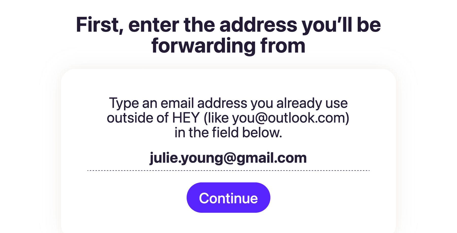 adding your Gmail address in HEY