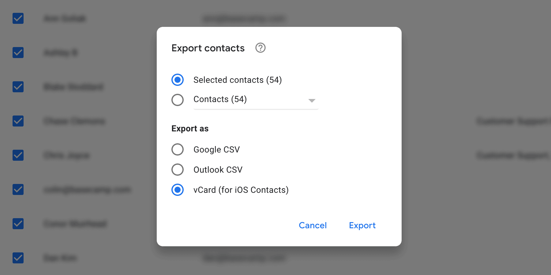 picking the export file type in Google Contacts