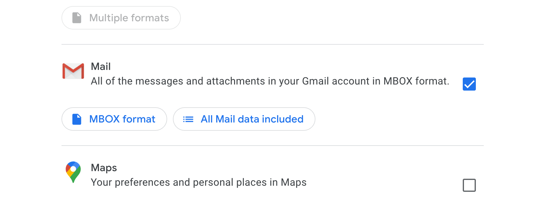 selecting 'Mail' in Google Takeout